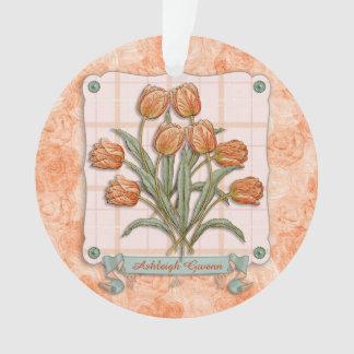 Vintage Orange Tulips Peach Pink Plaid Nice Ribbon Ornament