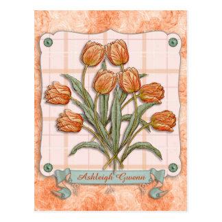 Vintage Orange Tulips Peach Pink Plaid Nice Ribbon Postcard