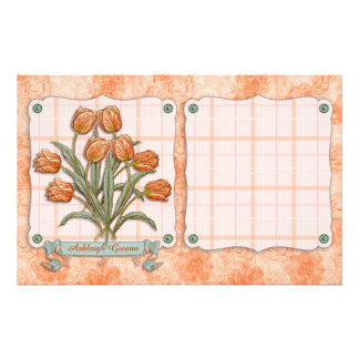 Vintage Orange Tulips Peach Pink Plaid Nice Ribbon Stationery