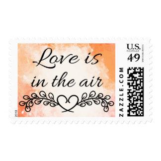 Vintage Orange Watercolor Love & Heart Wedding Postage