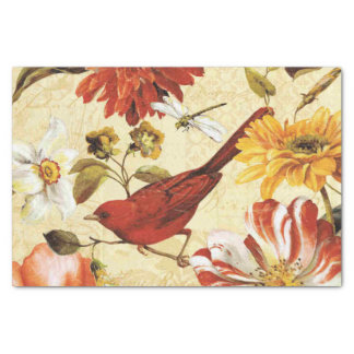 Vintage orange white floral red bird dragonfly tissue paper