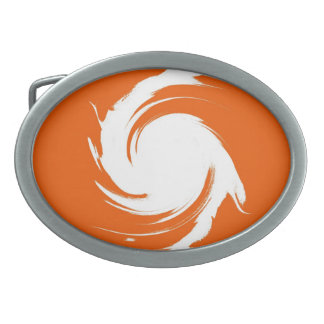 Vintage Orange, White Swirl Abstract Art Oval Belt Buckle
