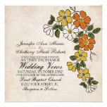 Vintage Orange Yellow Floral Wedding Invitation