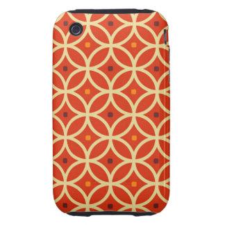 Vintage orange yellow quatrefoil trellis pattern tough iPhone 3 case