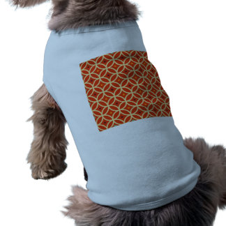 Vintage orange yellow quatrefoil trellis pattern dog shirt