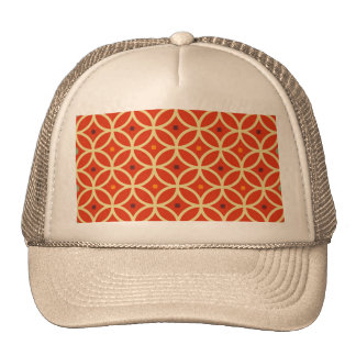 Vintage orange yellow quatrefoil trellis pattern trucker hat