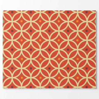 Vintage orange yellow quatrefoil trellis pattern wrapping paper
