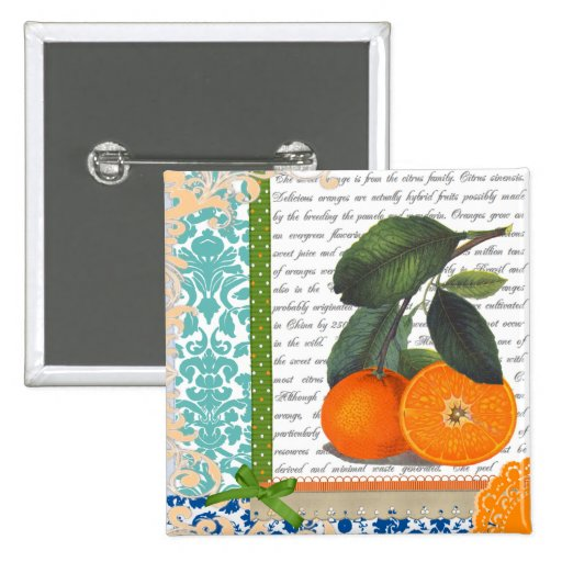 Vintage Oranges Collage 2 Inch Square Button