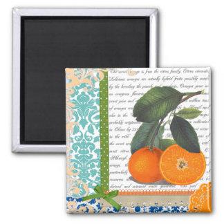 Vintage Oranges Collage 2 Inch Square Magnet