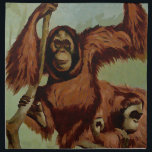 "Vintage orangutans on a tree cloth napkin<br><div class=""desc"">Vintage orangutans on a tree  - an antique illustration was  edited applied on this item by Alma Wad . Great gift for animal lovers .</div>"