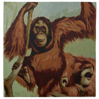 Vintage orangutans on a tree cloth napkin