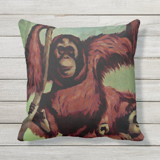 Vintage orangutans on a tree outdoor pillow