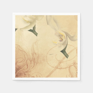 Vintage Orchid Background Paper Napkin
