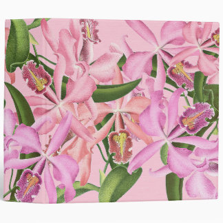 Vintage Orchid Flowers Avery Binder