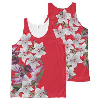 Vintage Orchid Flowers Floral Botanical Garden All-Over Print Tank Top