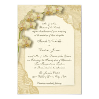 Vintage Orchids and Lace Wedding Card