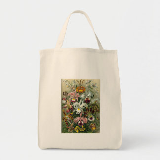 Vintage Orchids Grocery Tote Bag
