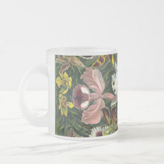 Vintage Orchids Frosted Glass Coffee Mug