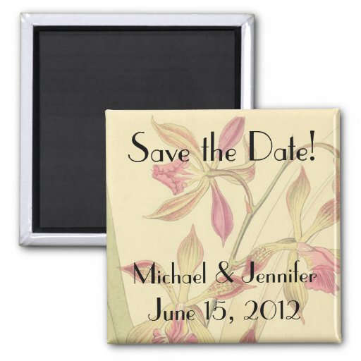 Vintage Orchids Save the Date Magnet