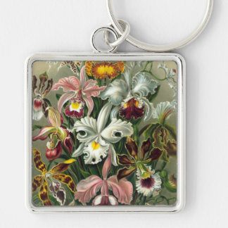 Vintage Orchids Silver-Colored Square Keychain
