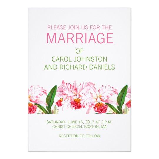 VINTAGE ORCHIDS WEDDING INVITATION | PINK GREEN