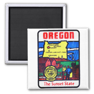 Vintage Oregon 60s Decal Art Sunshine State Magnet