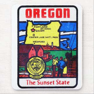 Vintage Oregon 60s Decal Art Sunshine State Mouse Pad