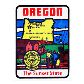 Vintage Oregon 60s Decal Art Sunshine State Postcard
