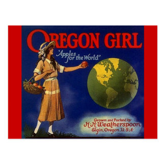 Vintage Oregon Girl Apples Fruit Crate Postcards
