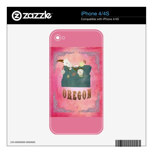 Vintage Oregon State Map- Candy Pink Skins For iPhone 4