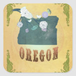 Vintage Oregon State Map- Passion Fruit Yellow Sticker