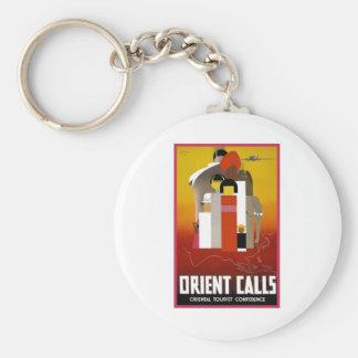 Vintage Orient Calls Basic Round Button Keychain
