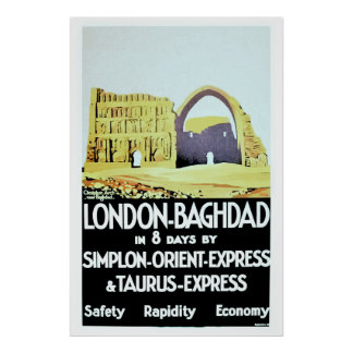 Vintage Orient Express London Baghdad travel ad Posters
