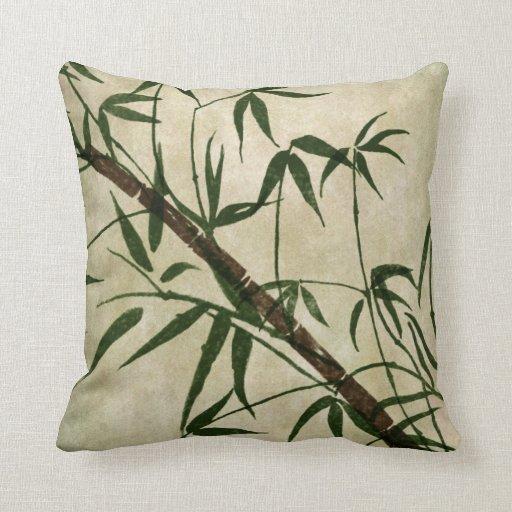 Vintage Oriental Bamboo 1 Throw Pillows
