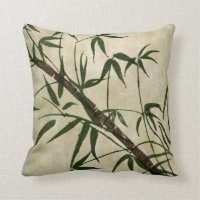 Vintage Oriental Bamboo 1 Throw Pillow