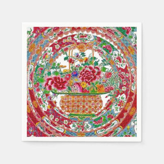 Vintage Oriental Flower Basket China Plate Pattern Paper Napkin