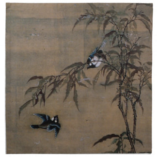 Vintage Oriental Japanese Painting of Two Birds Cloth Napkin