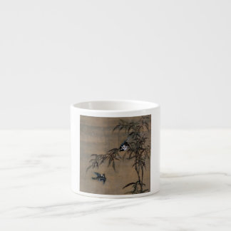 Vintage Oriental Japanese Painting of Two Birds Espresso Cup