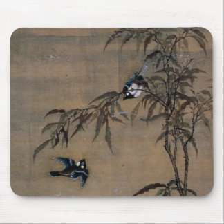 Vintage Oriental Japanese Painting of Two Birds Mouse Pad