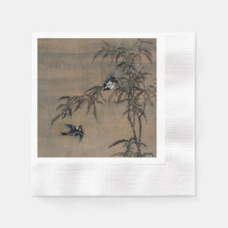 Vintage Oriental Japanese Painting of Two Birds Paper Napkin