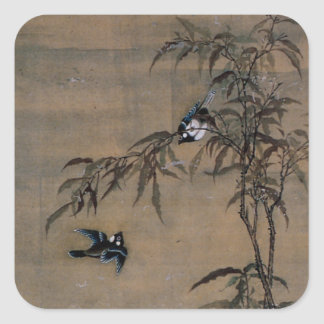 Vintage Oriental Japanese Painting of Two Birds Square Sticker