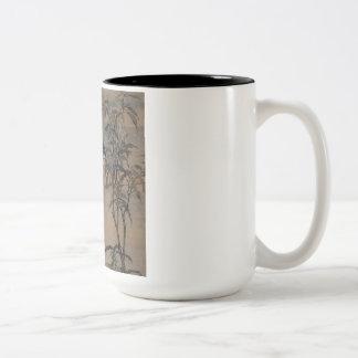 Vintage Oriental Japanese Painting of Two Birds Two-Tone Coffee Mug