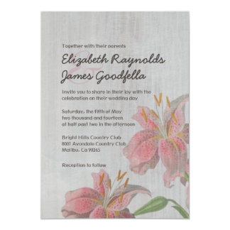 Vintage Oriental Lily Wedding Invitations