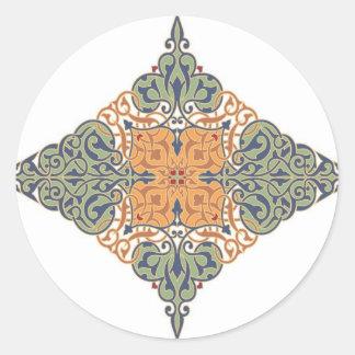 Vintage Oriental Pattern Design Round Sticker