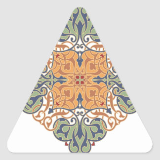 Vintage Oriental Pattern Design Triangle Sticker