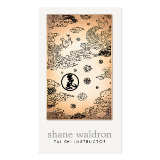 Vintage Oriental Peacock Tai Chi Gold Martial Arts Business Card
