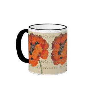 Vintage Oriental Poppy Flower Love Mug