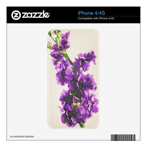 Vintage Oriental Purple Gillyflowers iphone Skin Decals For The iPhone 4