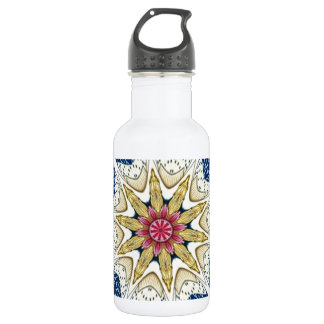 Vintage Oriental Vase Floral Kaleidoscope Stainless Steel Water Bottle