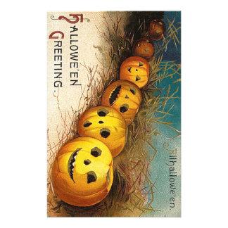 Vintage original Halloween pumpkins card Personalised Stationery